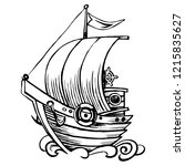 stylized sailing wooden. old...   Shutterstock .eps vector #1215835627