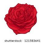 Stylish Red Rose Isolated On...