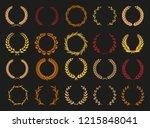 vector laurel autumn wreaths on ...   Shutterstock .eps vector #1215848041