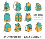 colored hand drawn vector set... | Shutterstock .eps vector #1215860824