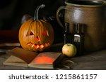 decorations on halloween... | Shutterstock . vector #1215861157