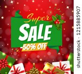 christmas sale banner with... | Shutterstock .eps vector #1215885907