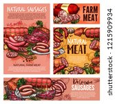 meat sausages  pork ham and... | Shutterstock .eps vector #1215909934