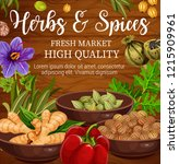 herbs  spices and vegetables ...   Shutterstock .eps vector #1215909961