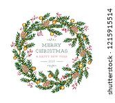christmas wreath design. vector ... | Shutterstock .eps vector #1215915514
