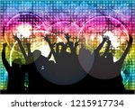 dancing people silhouettes.... | Shutterstock .eps vector #1215917734