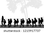 childrens on their way to...   Shutterstock .eps vector #1215917737
