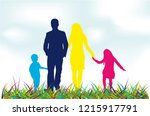 family silhouettes in nature.   Shutterstock .eps vector #1215917791