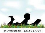 reading books on nature. | Shutterstock .eps vector #1215917794