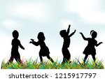 silhouettes of children playing. | Shutterstock .eps vector #1215917797