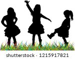 silhouettes of children playing.   Shutterstock .eps vector #1215917821