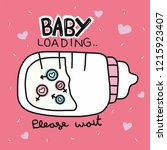 baby loading word and milk...   Shutterstock .eps vector #1215923407