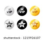 vip label or tag golden silver... | Shutterstock .eps vector #1215926107