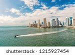 aerial view of miami waterfront ... | Shutterstock . vector #1215927454