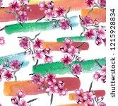 watercolor bouquet of pink...   Shutterstock . vector #1215928834