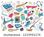 hand drawn set of teenage... | Shutterstock .eps vector #1215931174
