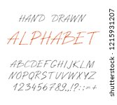 hand drawn font made by ink... | Shutterstock .eps vector #1215931207
