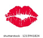 female red lipstick kiss... | Shutterstock .eps vector #1215941824