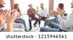 creative team holds a meeting... | Shutterstock . vector #1215946561
