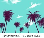 row of tropic palm trees... | Shutterstock .eps vector #1215954661