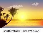 row of tropic palm trees... | Shutterstock .eps vector #1215954664