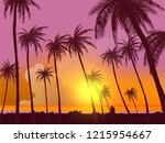 row of tropic palm trees... | Shutterstock .eps vector #1215954667