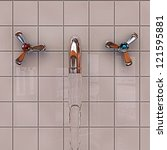 metal tap on polished tiles - stock photo