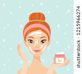 young woman applying face cream ... | Shutterstock .eps vector #1215966274