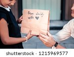 present from daddy. happy cute... | Shutterstock . vector #1215969577