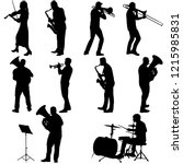 Set Silhouette Of Musician...