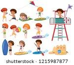 set of beach kids character... | Shutterstock .eps vector #1215987877
