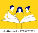 group of people reading a book... | Shutterstock .eps vector #1215995911