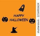 happy halloween icon on orange...