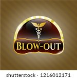 gold badge or emblem with... | Shutterstock .eps vector #1216012171