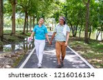 the old couple relax after... | Shutterstock . vector #1216016134