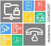 simple set of  10 outline icons ... | Shutterstock .eps vector #1216051207