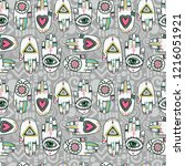 seamless pattern with tattooed... | Shutterstock .eps vector #1216051921