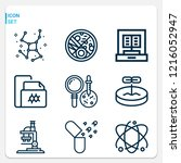 simple set of  9 outline icons... | Shutterstock .eps vector #1216052947