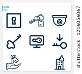 simple set of  9 outline icons... | Shutterstock .eps vector #1216056067