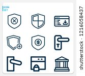 simple set of  9 outline icons... | Shutterstock .eps vector #1216058437