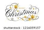 merry christmas lettering... | Shutterstock .eps vector #1216059157