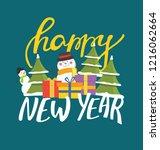 happy winter holidays   hand... | Shutterstock .eps vector #1216062664