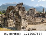 ruins of the ancient roman town ... | Shutterstock . vector #1216067584