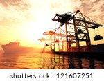 Industrial Port In Sunset...