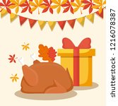 turkey dinner with gift box of... | Shutterstock .eps vector #1216078387