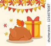 turkey dinner with gift box of... | Shutterstock .eps vector #1216078387