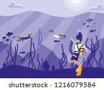 divers in tropical seascape... | Shutterstock .eps vector #1216079584