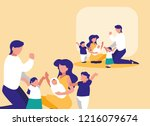 cute family with childrens... | Shutterstock .eps vector #1216079674