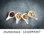 healthy foods. mixed nuts in...   Shutterstock . vector #1216094347