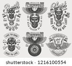 vintage biker and motorcyclist... | Shutterstock .eps vector #1216100554